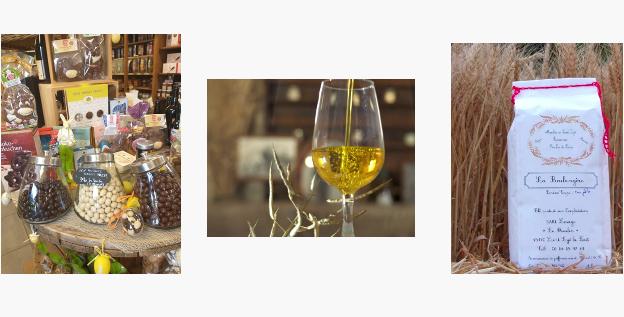 Huile Laluque dans un verre, Farine sur meule de pierre, Boutique du petit marché